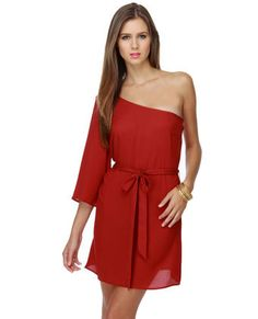 Love one shoulder dresses - and red is THE color this fall