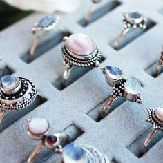 ♕ Ring tray GOALS ♕ shopdixi.com ♕ dixi // jewellery // jewelry // boho // bohemian // grunge // goth // dark // mystic // magic // witchy // moonstone // pink // black // pearl // sterling silver // rings // garnet // labradorite