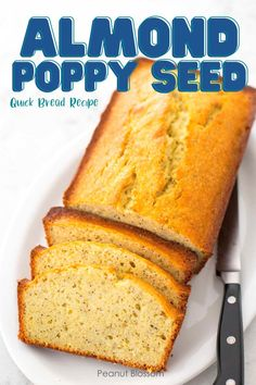 This delicious quick bread recipe tastes like birthday cake married Christmas. A buttery, crispy crust surrounds a cakey bread that has a similar texture to pound cake. Bake it ahead and freeze for an easy Christmas breakfast with hot cocoa. Quick Bread Recipes, Easy Baking Recipes, Easy Cookie Recipes, Almond Poppy Seed Bread, Baker Recipes, Easy Meals For Kids, Christmas Breakfast, Food Words, Make Ahead Breakfast