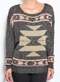 Metallic Gray Tribal Print Sweater #aztecprint #fallfashion