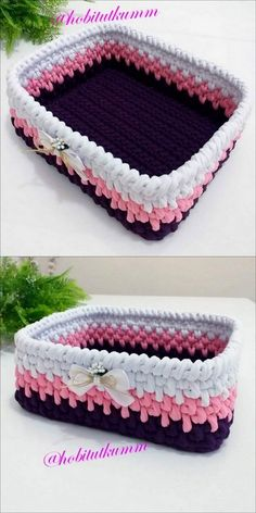 Nice-looking and Incredible Crochet Patterns Perfect for Beginners - DIY For Crafts Crochet Box Stitch, Crochet Bowl, Crochet Mat, Cute Crochet, Crochet Crafts, Crochet Projects, Crochet Basket Tutorial, Crochet Basket Pattern, Crochet Sweater Design