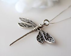 Large Dragonfly Sterling Silver Pendant  Necklace 925 by ByGerene, $62.00
