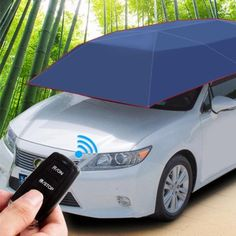 Car Tent with Semi-Automatic Car Umbrella Cover Portable Movable Carport Folded for summer Water-Proof,Wind,Protection Sun Shade Anti-UV