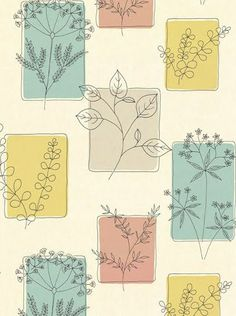 KB - Simple 50s botanical line drawings