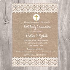 First Holy Communion Invite Burlap and Lace Holy by IsiDesigns