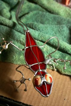 Stained Glass and Wire Red Lizard Garden Art via Etsy