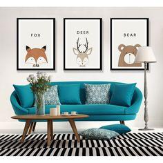 Online Shop Cartoon Animal Deer Bear Fox Bird Minimalist Art Canvas Poster Print Modern Nursery Picture for Children Kids Room Decor FA045 | Aliexpress Mobile