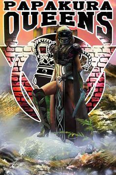 Papakura AFC Queens Battle Dress Concept Design. Battle Dress, Code Of Conduct, American Football, Queens, Comic Books, Concept, Club, Comics, Cover