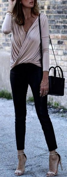 #fall #street #style | Nude Draped Top + Black Leather Pants