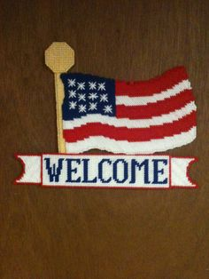 Plastic  Canvas Flag Welcome Sign by Cathygiftsandthings on Etsy, $15.00