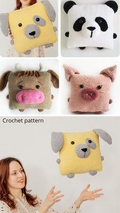 Crochet pattern pillow 4 IN 1 Crochet Panda, Crochet Cow, Crochet Pillow, Crochet For Kids, Crochet Dolls, Crochet Toys Patterns, Amigurumi Patterns, Stuffed Toys Patterns, Bear Patterns