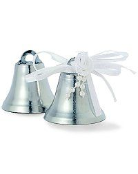 tie ribbons to tiny bells 24 pkg and place in a basket for
