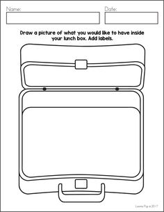 FREE Writing Journal Prompts SAMPLER. Draw a picture of what you would like to have inside your lunch box.