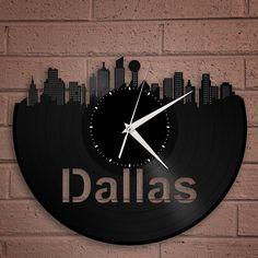 Vinyl Wall Clock -Dallas Wall Clock,Cityscape Clock,Unique Wall Clock, Vinyl Record Art,Large Wall Clock, Vinyl Clock, Record Clock by VinylShopUS on Etsy