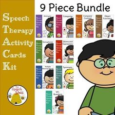 25% off this 9 Piece Vocabulary Bundle: Speech Therapy Activity Cards KitGo to individual products to preview the bundleThe bundle contains the following:Antonyms Picture and Task CardsCategories Picture CardsCompare and Contrast CardsHomophones Picture and Task CardsIdioms and Expressions Picture and Task CardsMultiple Meaning Words Picture and Task CardsObject Function CardsSynonyms Picture and Task CardsWh- Questions Picture and Task CardsUse in a variety of waysUse the picture cards to…