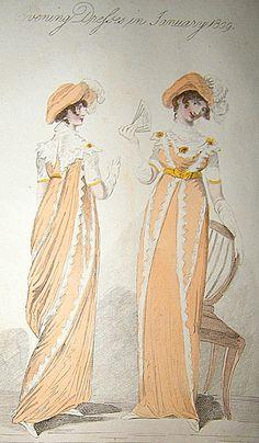Evening Dress, 1809. 1800s Fashion, Victorian Fashion, Vintage Fashion, Regency Dress, Regency Era, Yellow Ballgown, Vintage Clothing, Vintage Outfits, Empire Clothing