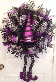 Hey, I found this really awesome Etsy listing at https://www.etsy.com/listing/247062296/halloween-wreath-witch-wreath-with-legs