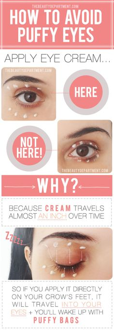 How to Avoid Puffy Eyes when Applying Eye Cream from The Beauty Department All Things Beauty, Beauty Make Up, Beauty Care, Beauty Skin, Diy Beauty, Beauty Hacks, Beauty Advice, The Beauty Department, Lazy Beauty Routine