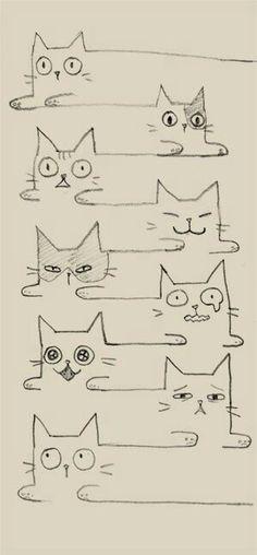 Super Ideas For Cats Drawing Ideas Doodles Kitty I Love Cats, Crazy Cats, Doodles, Illustration Art, Illustrations, Cat Drawing, Drawing Ideas, Doodle Art, Cat Doodle