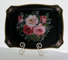 Vintage Black Floral Tray Shabby Chic Pink by WeeLambieVintage, $22.00