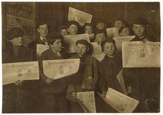 児童労働, 少年たち, グループ, 新聞, プレス, 歴史, 人, 子供, 黒と白, セピア, アメリカ