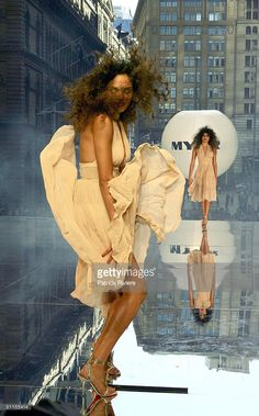 Model parades on an open air catwalk for the launch of the 2004 Spring Summer Myer Fashion at Martin Place August 9, 2004 in Sydney, Australia.