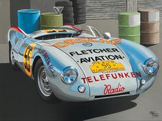 """This Porsche 550 Spyder took part in the 1954 Carrera Panamericana and won in it's category and helped to introduce this model to the american market, it also became tragically famous due to the death in one of them of the famous actor James Dean, his car was """"The Little Bastard"""", that's how Dean called this little but insanely fast car Porsche 550, Actor James, James Dean, Car Painting, Fast Cars, Automobile, Death, Paintings, Model"""