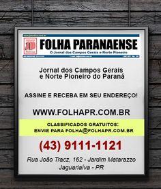 Jornal dos Campos Gerais e Norte Pioneiro do Paraná Assine e receba em seu endereço! (43) 9111-1121 Rua João Tracz, 162 - Jardim Matarazzo Jaguariaíva - PR