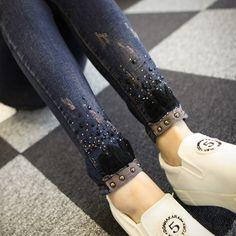 秋季新款韩国女式牛仔裤 长裤修身显瘦镶钻小脚裤大码弹力铅笔裤-淘宝网