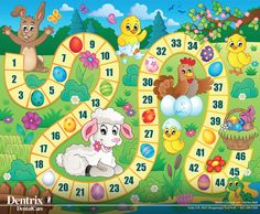 Board game image with Easter theme 1 - picture illustration. Easter Games, Easter Activities, Activities For Kids, Board Game Template, Printable Board Games, Math For Kids, Diy For Kids, Crafts For Kids, Science Games