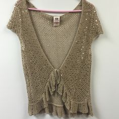 NWOT gold sequin top Great layering piece. Never worn! Light brown/dark tan color with gold sequins Faded Glory Tops Camisoles