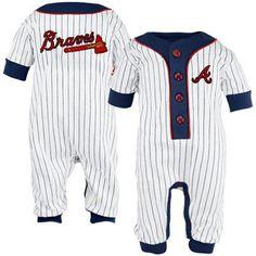 Majestic Atlanta Braves Infant White Pinstripe Coveralls
