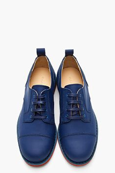 CARVEN Blue Matte Leather Derby Lace Up Shoes