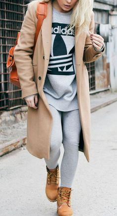 nude coat + grey swetahirt and cozy sweatpants outfit