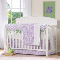 Lavender Baby Bedding Sets and Separates – Liz and Roo Fine Baby Bedding. Perfect bedding for spring! Lavender with mint green trim. Bedding is available as a set or separates. Valances and changing pad covers also available. All made in the USA. You'll love your Liz and Roo nursery!