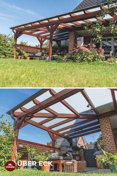 Bei der Planung einer Terrassenüberdachung gibt es einige wichtige Punkte zu berücksichtigen. Terrassenüberdachung Ecklösung von steda natürlich!