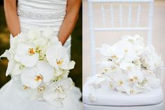 Exotic elegance. White Phalaenopsis Wedding Bouquets @Carolyn Toailoa