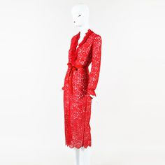 """Preen by Thornton Bregazzi NWT Red Floral Lace LS Belted """"Anoushka"""" Dress SZ S"""