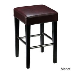 Cortesi Home 24 Backless Counter High Stool in Genuine Leather (Merlot), Red