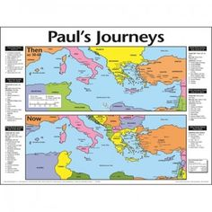 Paul's Journeys: Then and Now, Laminated Wall Chart Sunday School Projects, Laminate Wall, New Testament Bible, Bible Mapping, Christian Posters, Bible Knowledge, Bible Prayers, Wall Maps, Persecution