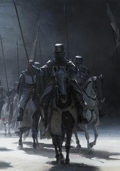 Knight Templars on Horses - Crusader Fantasy Concept Art, Fantasy Character Design, Dark Fantasy Art, Character Art, Fantasy Battle, Fantasy Armor, Medieval Knight, Medieval Fantasy, Rogue Rpg