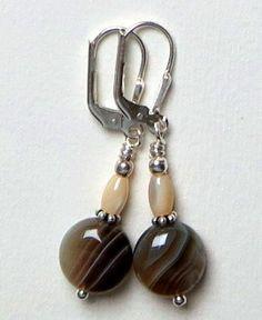 Boucles d'oreilles Agate, Nacre et Argent