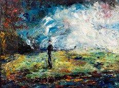 Jack Butler Yeats (Irish, The night has gone, Oil on canvas, x 24 in. Irish Painters, Jack B, Irish Landscape, Irish Art, Figure Painting, Figurative Art, Word Art, Landscape Paintings, Landscapes
