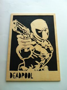 Deadpool Marvel Wooden picture scroll saw, $21.99