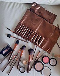 BROADCARE 12Pcs Set de Brochas de Maquillaje Profesionales Cepillos Pínceles de Maquillaje con Mango de Madera Productos Cosméticos para Labios Ojos Rostro + Bolsa Funda de de Cuero PU: Amazon.es: Belleza
