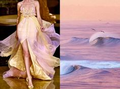 "Elie Saab S/S 2006 & ""Pelicans and perfect surf at dawn"", California (USA). Photo by Bryce Bradford. Collage by Liliya Hudyakova."