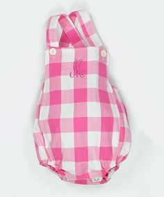 Pink Gingham Personalized Bubble Romper - Infant