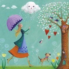 singing in the rain Art Print by Mila Marquis Umbrella Art, Under My Umbrella, Art Et Illustration, Illustrations, Art Fantaisiste, Art Carte, Rain Art, Singing In The Rain, Square Card