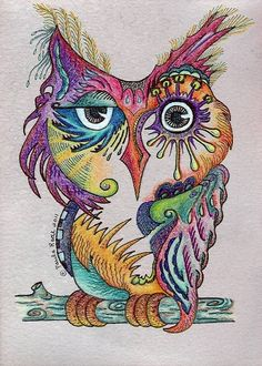 """Items similar to PRINT """"Wise Owl"""" colorful print of a whimsical colored pencil drawing of an Owl bird drawn on wine soaked paper by Paula Radl on Etsy Illustrations, Illustration Art, Wal Art, Color Pencil Art, Colour Drawing, Arte Pop, Bird Art, Doodle Art, Owl Doodle"""