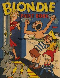 Vintage 1940 Blondie Coloring Book No Paper Dolls RPRO ORG Sz Free SH   eBay